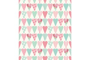 Cute vintage seamless pattern with heart shapes in shabby chic style