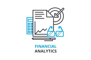 financial analytics concept , outline icon, linear sign, thin line pictogram, logo, flat illustration, vector