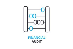 financial audit concept , outline icon, linear sign, thin line pictogram, logo, flat illustration, vector