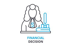 financial decision concept , outline icon, linear sign, thin line pictogram, logo, flat illustration, vector