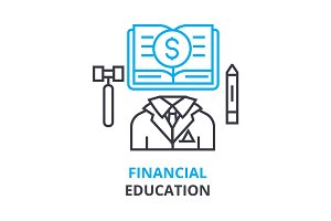 financial education concept , outline icon, linear sign, thin line pictogram, logo, flat illustration, vector