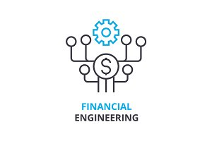 financial engineering concept , outline icon, linear sign, thin line pictogram, logo, flat illustration, vector