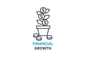 financial growth concept , outline icon, linear sign, thin line pictogram, logo, flat illustration, vector