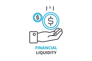 financial liquidity concept , outline icon, linear sign, thin line pictogram, logo, flat illustration, vector