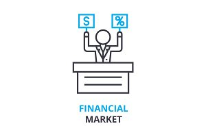 financial market concept , outline icon, linear sign, thin line pictogram, logo, flat illustration, vector