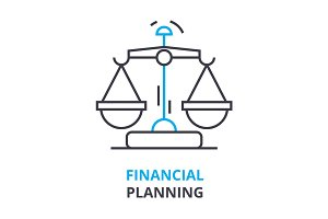 financial planning concept , outline icon, linear sign, thin line pictogram, logo, flat illustration, vector