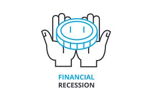 financial recession concept , outline icon, linear sign, thin line pictogram, logo, flat illustration, vector