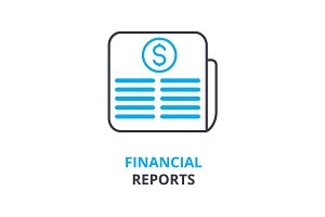 financial reports concept , outline icon, linear sign, thin line pictogram, logo, flat illustration, vector