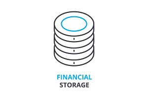 financial storage concept , outline icon, linear sign, thin line pictogram, logo, flat illustration, vector
