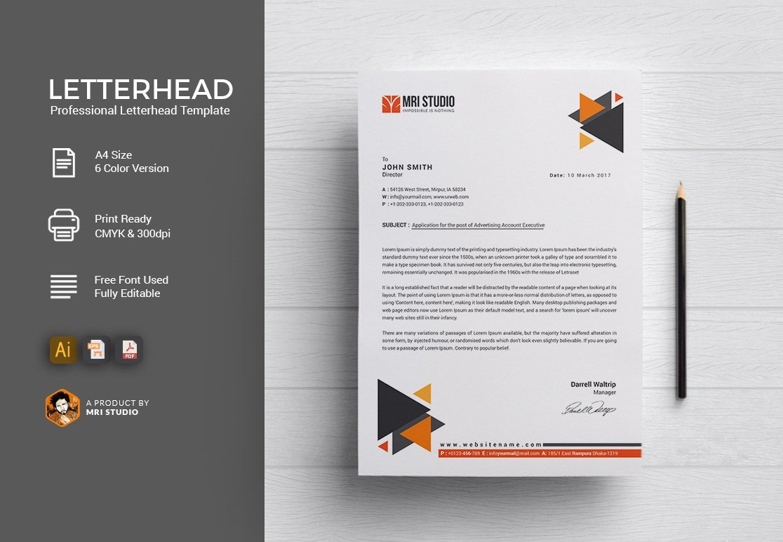 Stationery Letterhead Design Black Psd Template