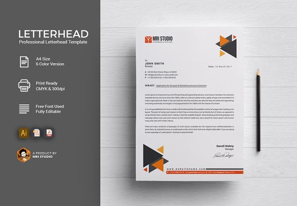 Letterhead template stationery templates creative market thecheapjerseys