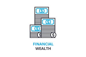 financial wealth concept , outline icon, linear sign, thin line pictogram, logo, flat illustration, vector