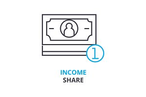 income share concept , outline icon, linear sign, thin line pictogram, logo, flat illustration, vector