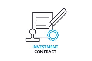 investment contract concept , outline icon, linear sign, thin line pictogram, logo, flat illustration, vector