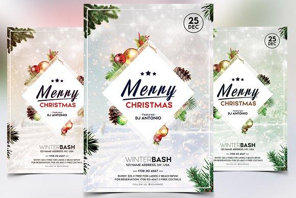 bundle 50 off 3 christmas flyers flyer templates creative market