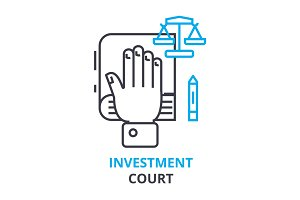 investment court concept , outline icon, linear sign, thin line pictogram, logo, flat illustration, vector