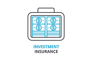 investment insurance concept , outline icon, linear sign, thin line pictogram, logo, flat illustration, vector