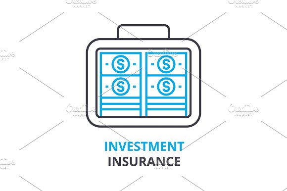 Investment Insurance Concept Outline Icon Linear Sign Thin Line Pictogram Logo Flat Illustration Vector