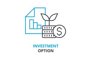 investment option concept , outline icon, linear sign, thin line pictogram, logo, flat illustration, vector