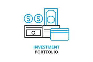 investment portfolio concept , outline icon, linear sign, thin line pictogram, logo, flat illustration, vector