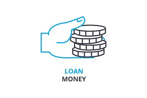loan money concept , outline icon, linear sign, thin line pictogram, logo, flat illustration, vector