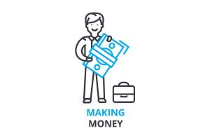 making money concept , outline icon, linear sign, thin line pictogram, logo, flat illustration, vector