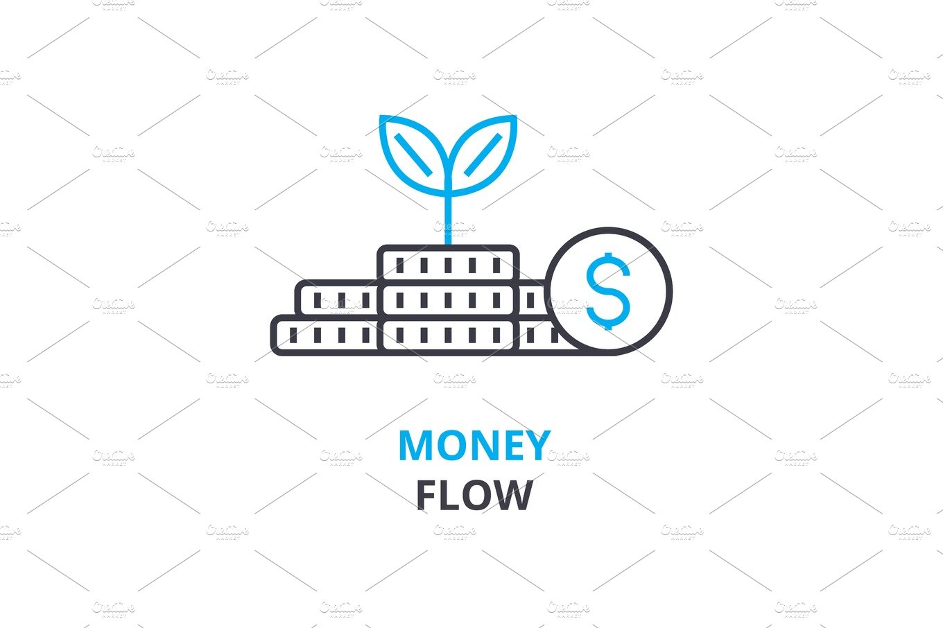 money flow concept , outline icon, linear sign, thin line