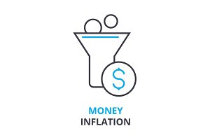 money inflation concept , outline icon, linear sign, thin line pictogram, logo, flat illustration, vector