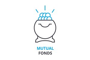 mutual fonds concept , outline icon, linear sign, thin line pictogram, logo, flat illustration, vector
