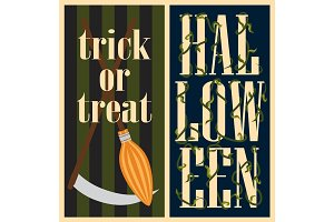 Trick or Treat Halloween Set Vector Illustration