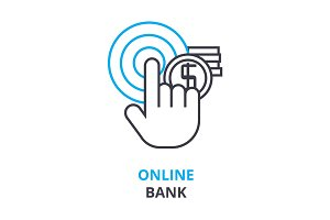 online bank concept , outline icon, linear sign, thin line pictogram, logo, flat illustration, vector