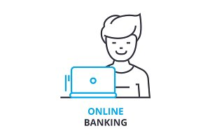 online banking concept , outline icon, linear sign, thin line pictogram, logo, flat illustration, vector