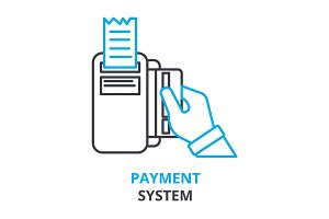 payment system concept , outline icon, linear sign, thin line pictogram, logo, flat illustration, vector