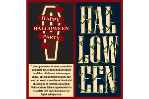 Happy Halloween with Text Vector Illustration