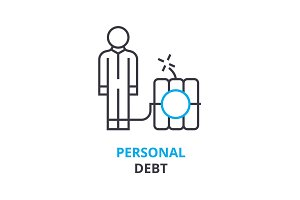 personal debt concept , outline icon, linear sign, thin line pictogram, logo, flat illustration, vector