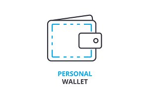 personal wallet concept , outline icon, linear sign, thin line pictogram, logo, flat illustration, vector