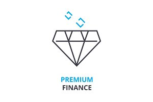 premium finance concept , outline icon, linear sign, thin line pictogram, logo, flat illustration, vector