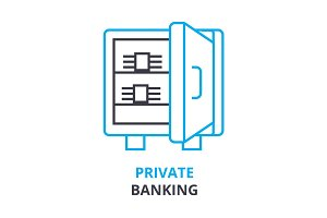 private banking  concept , outline icon, linear sign, thin line pictogram, logo, flat illustration, vector