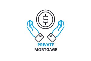 private mortgage concept , outline icon, linear sign, thin line pictogram, logo, flat illustration, vector