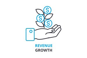 revenue growth concept , outline icon, linear sign, thin line pictogram, logo, flat illustration, vector