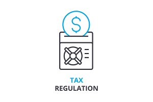 tax regulation concept , outline icon, linear sign, thin line pictogram, logo, flat illustration, vector
