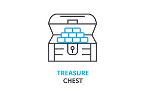 treasure chest concept , outline icon, linear sign, thin line pictogram, logo, flat illustration, vector