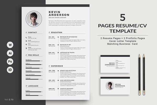 Resume Cv 5 Pages Creative Illustrator Templates Creative Market