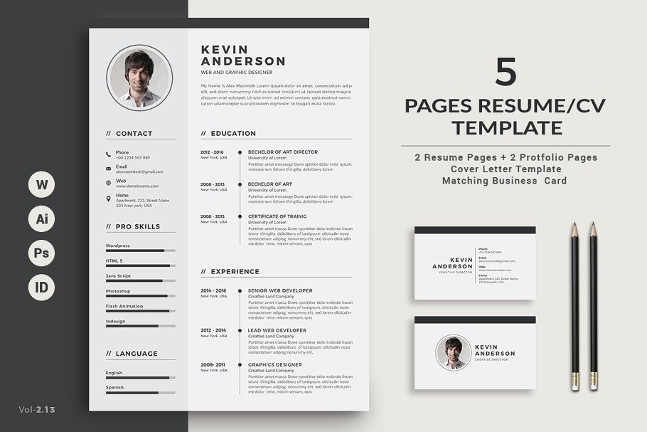 Resume Cv 5 Pages Resume Templates Creative Market
