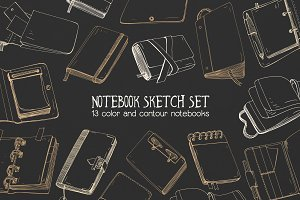 Set and seamless pattern of notebook
