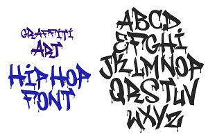 Graffiti black tag vector font
