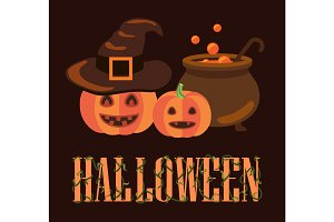 Halloween Poster with Pumpkins Vector Illustration