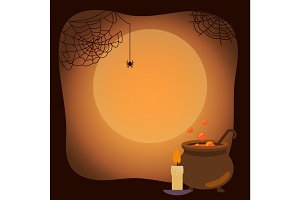 Halloween Background with Spider Webs and Vat