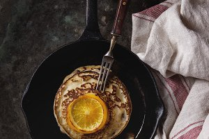 Pancakes with orange