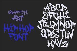 Hip Hop Graffiti font white tag